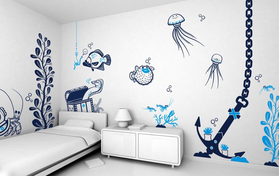 Простые рисунки на стене своими руками фото